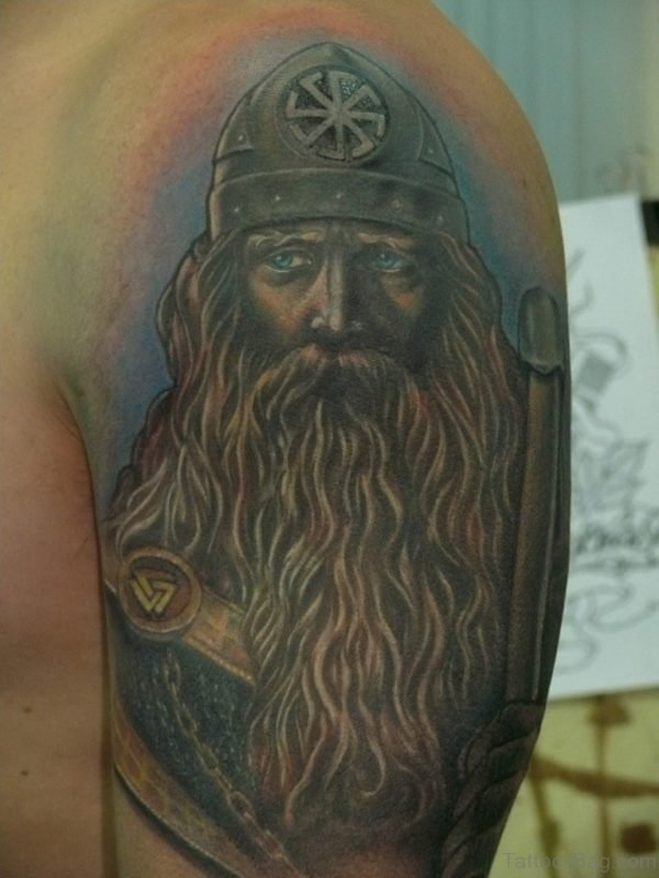 Blue Ink Viking Shoulder Tattoo