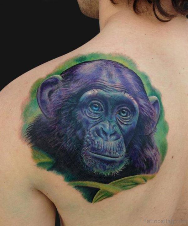 Blue Monkey Face Shoulder Tattoo
