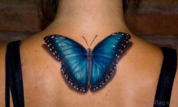 Blue Realistic Butterfly Tattoo On Neck