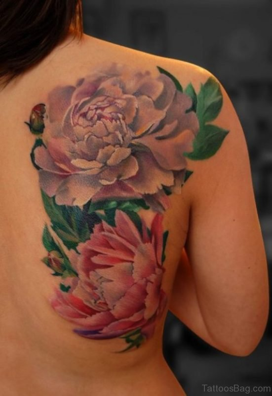 Blue Rose And Pink Flowers Tattoo