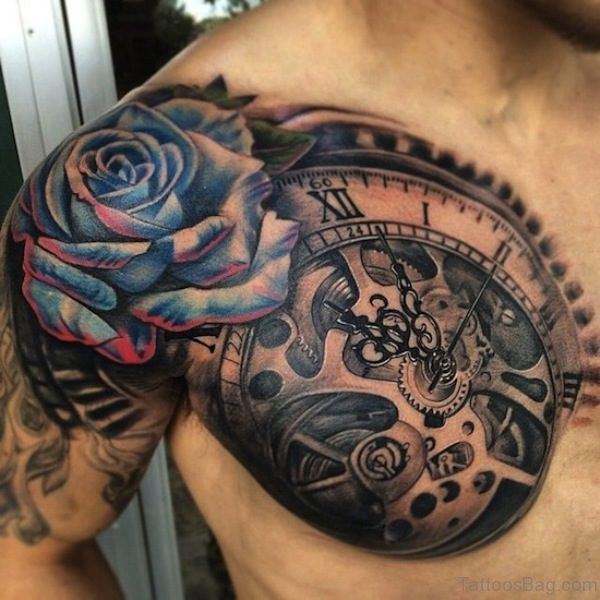 Blue Rose Tattoo Deisgn For Men