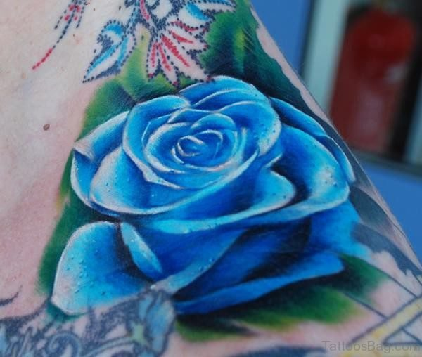 Blue Rose Tattoo On Side Neck