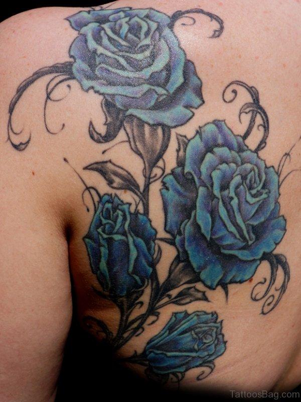 Blue Roses Shoulder Tattoo
