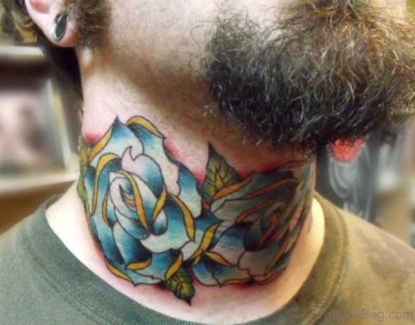 Blue Roses Tattoo On Neck