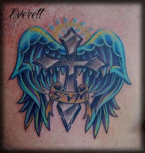 Blue Wings And Cross Tattoo