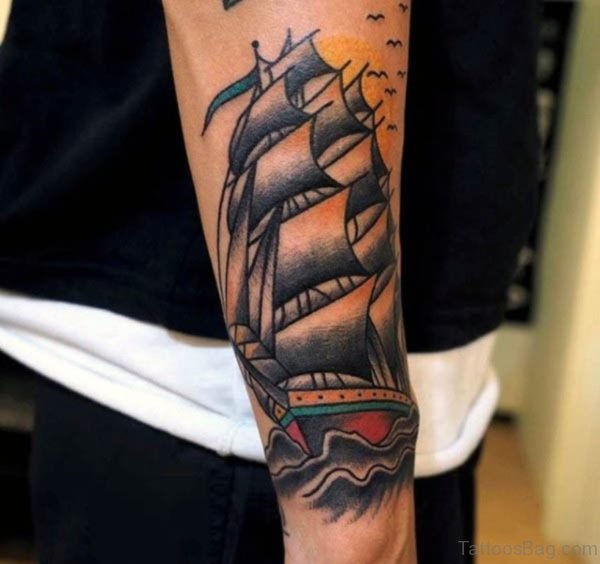 Boat In Sea Tattoo On Wrist