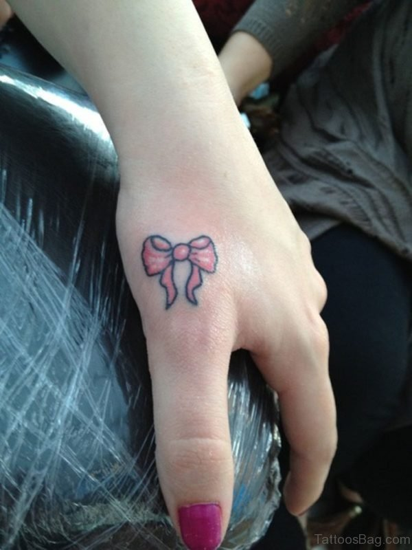 Bow Tattoo Design On Fingers