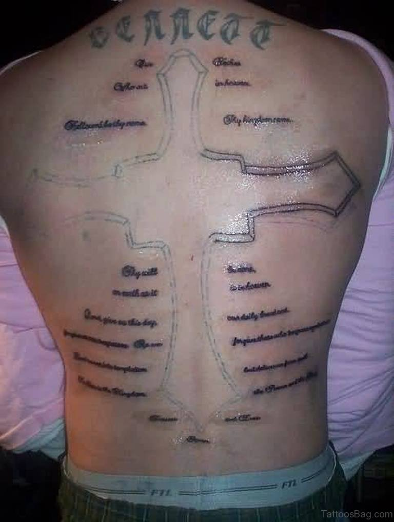 80 stylish cross tattoos on back