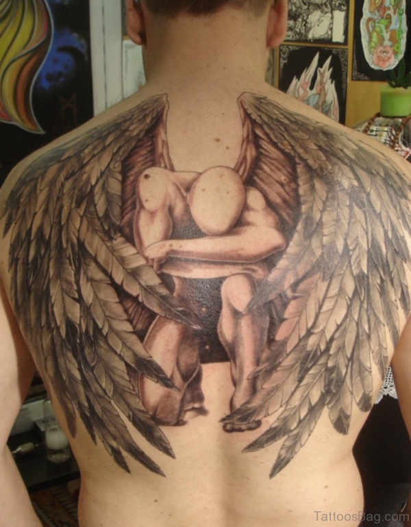 Brilliant Memorial Angel Tattoo On Back
