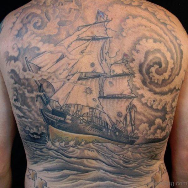 Brilliant Ship Tattoo  On Whole Back