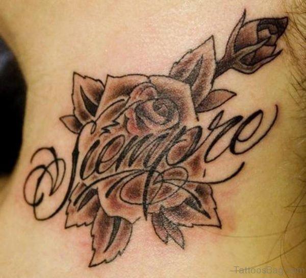 Brown Rose Neck Tattoo