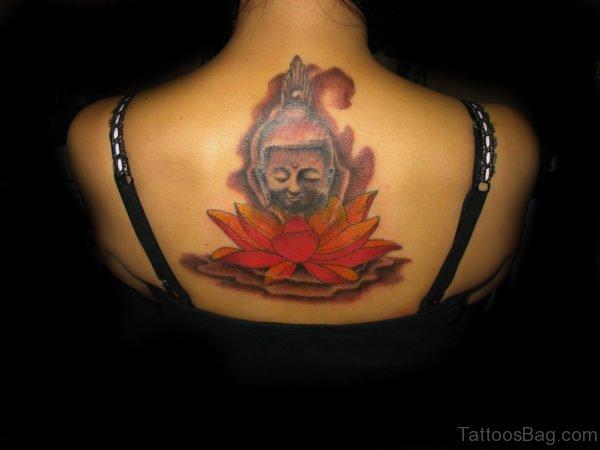 Buddha And Colored Lotus Tattoo