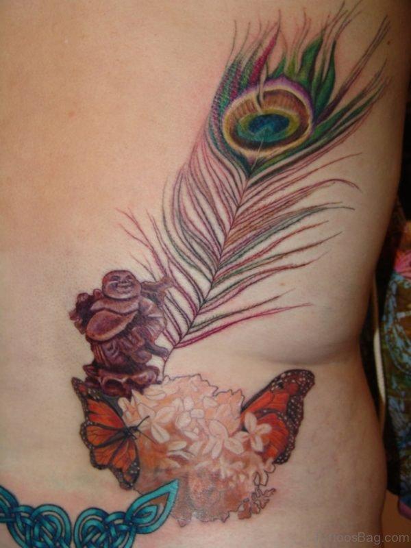 Buddha And Peacock Feather Tattoo