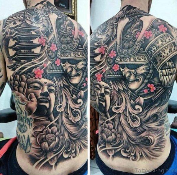 Buddha And Warrior Tattoo On Full Back