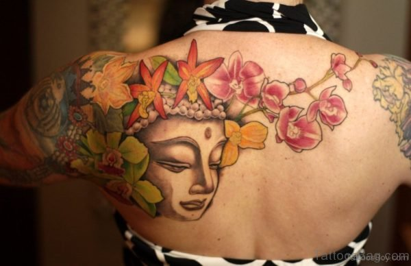 Buddha Face And Flower Tattoo Design