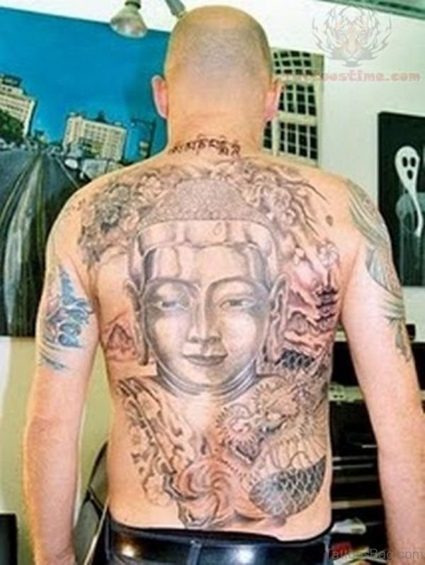 Buddha Tattoo On Back Body