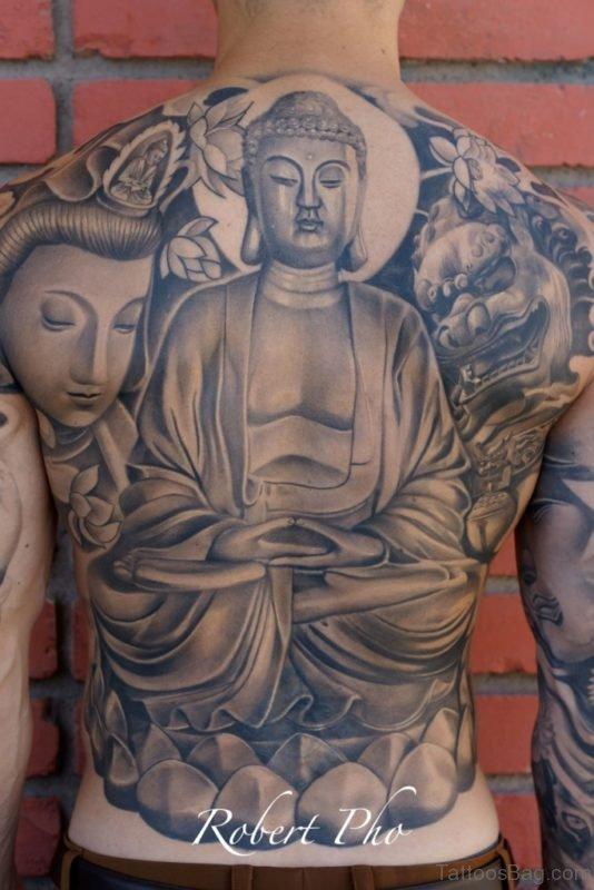 Buddha With Flowers Tattoo