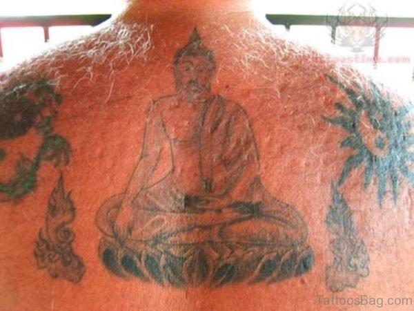 Buddhist Tattoo On Upper Back