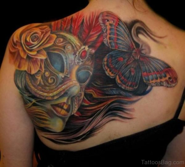 Butterfly And Mask Tattoo