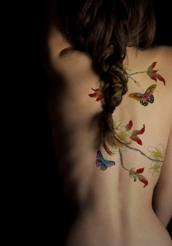 Butterflies And Leaves Tattoo
