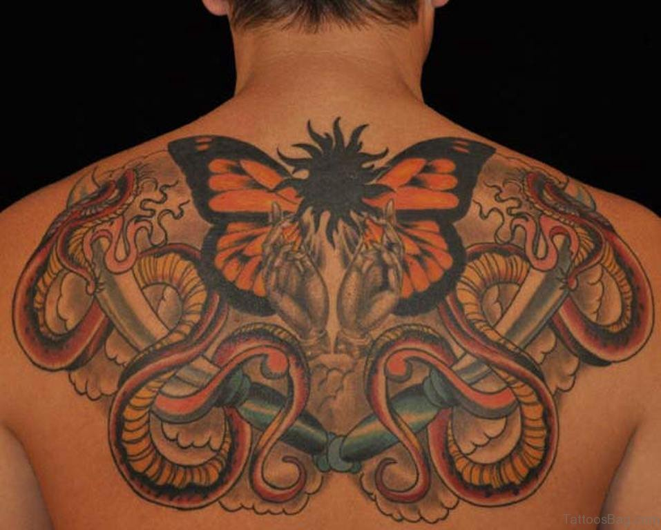 Butterfly And Colorful Snake Tattoo