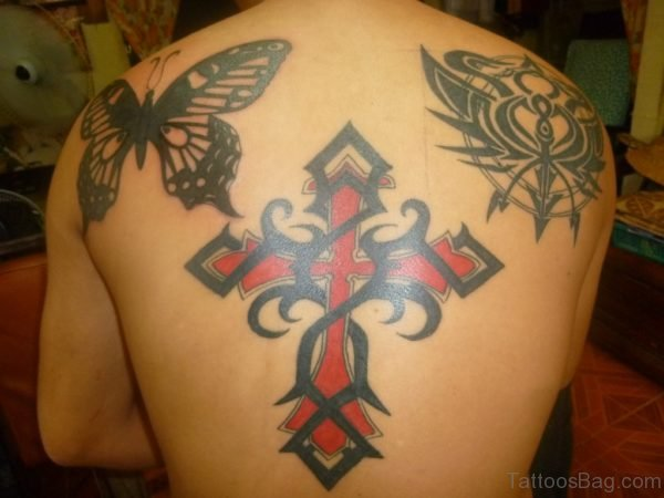 Butterfly And Cross Tattoo On Back