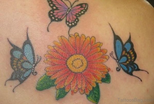 Butterfly And Daisy Tattoo