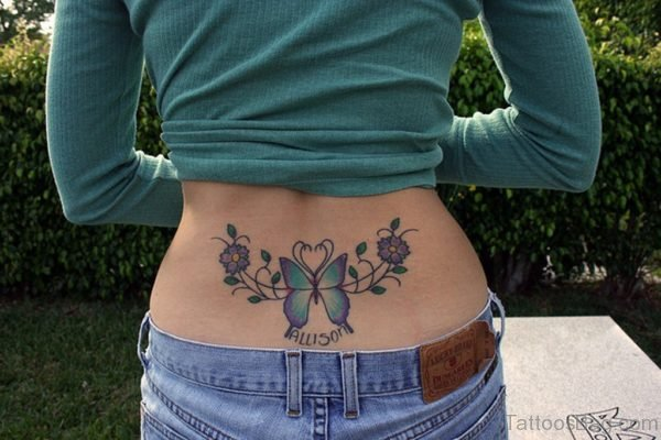 Butterfly And Flower Tattoo On Back
