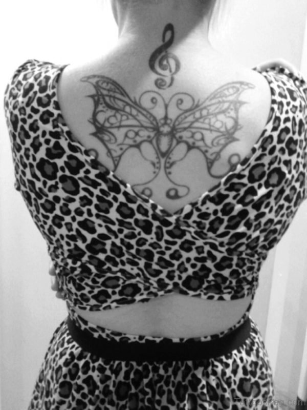 Butterfly And Music Tattoo