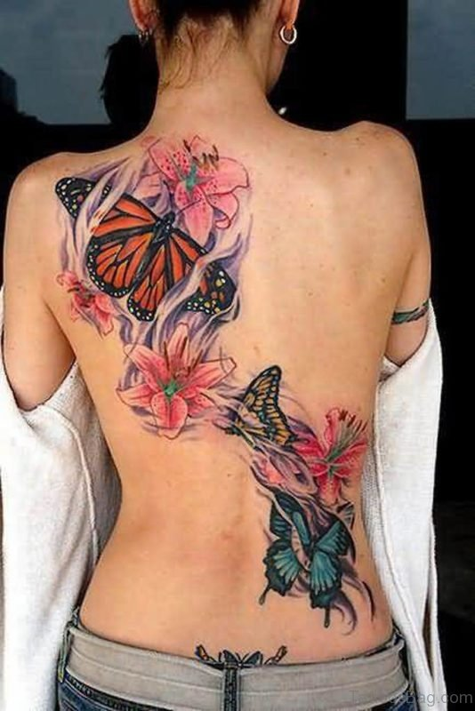 Butterfly And  Pink Flowers Tattoo