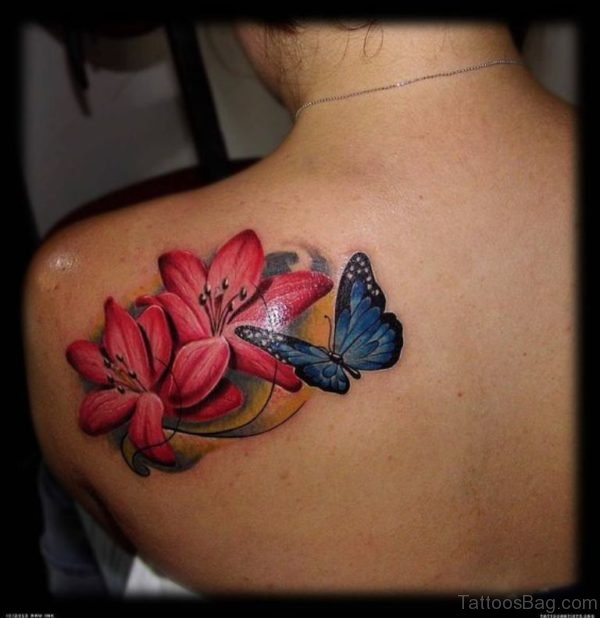 Butterfly And Poppy Tattoo