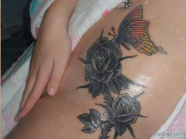 Butterfly And Rose Tattoo On Thigh