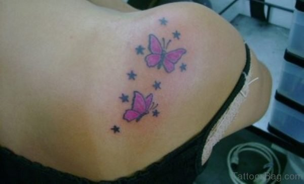 Butterfly And Star Tattoo On Shoulder
