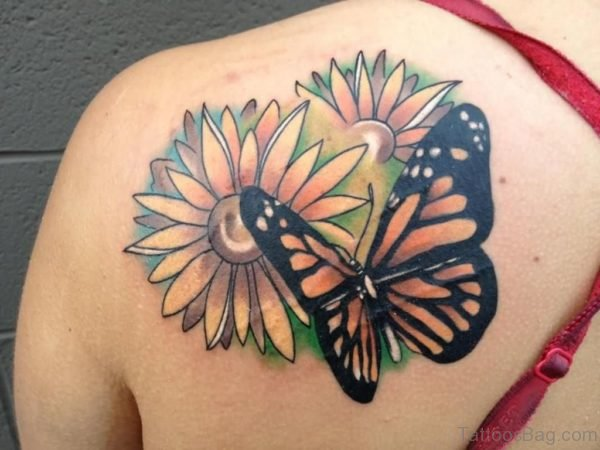 Butterfly And Sunflower Tattoos On Left Back