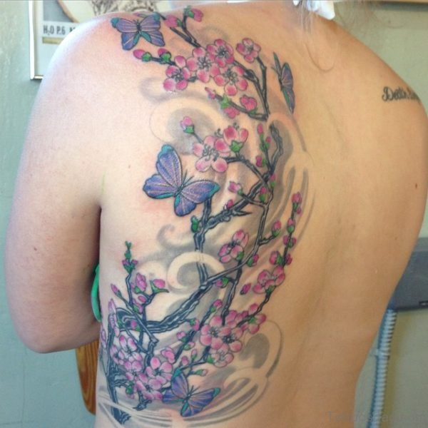 Butterfly  And Cherry Blossom Tree Tattoo