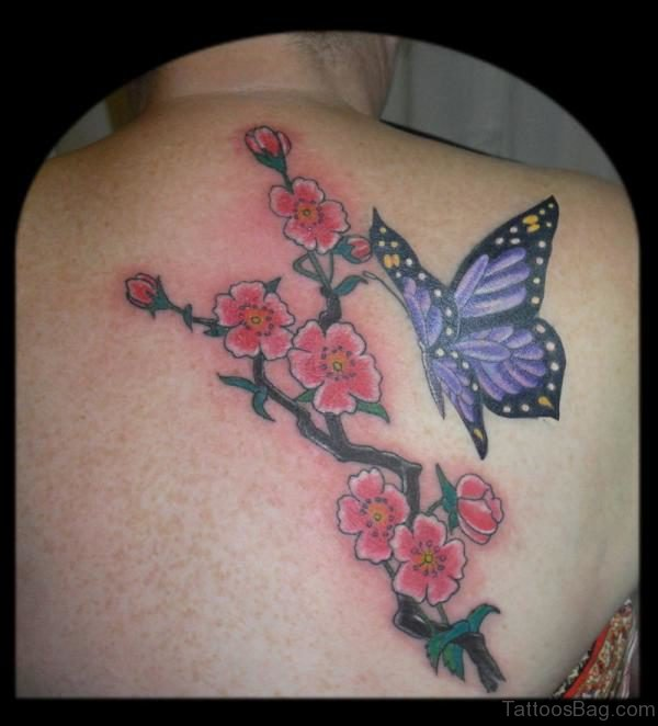 Butterfly Cherry Blossom Tattoo