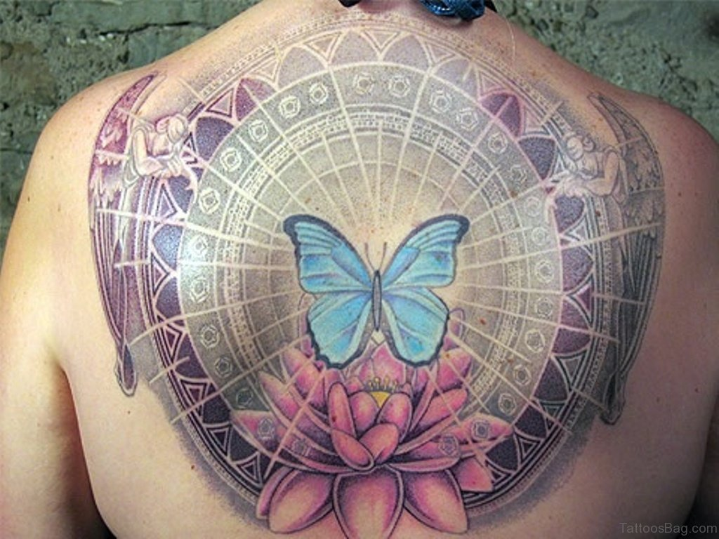 60 most amazing memorial angel tattoos for back for Butterfly memorial tattoos