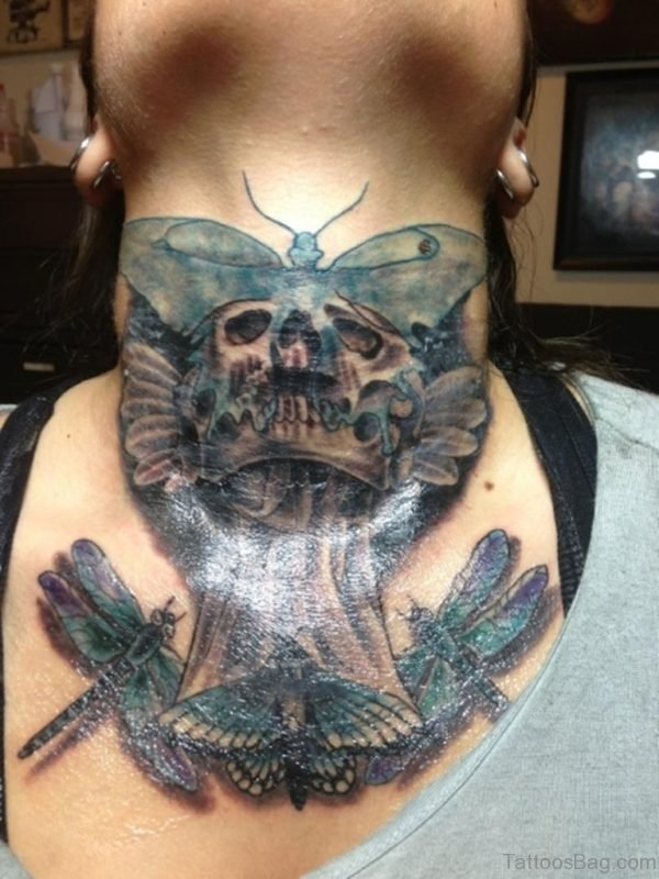 Butterfly Skull Tattoo On Neck