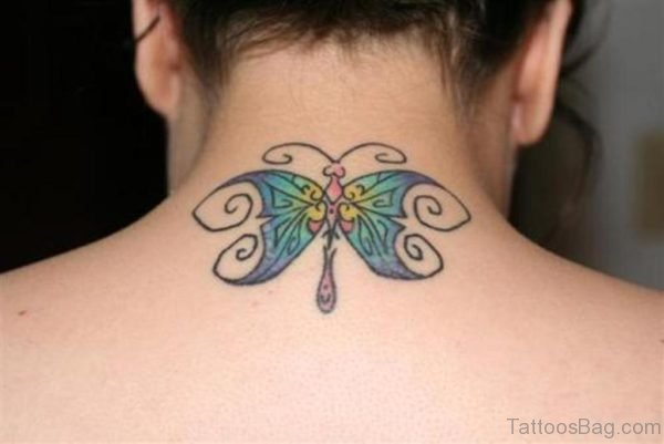 Butterfly Tattoo On Neck Back