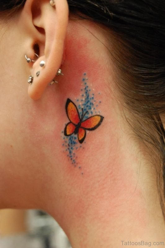 Butterfly Tattoo On Neck Behind Ear