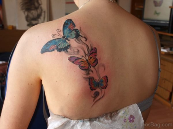Butterfly Tattoo On Back Shoulder