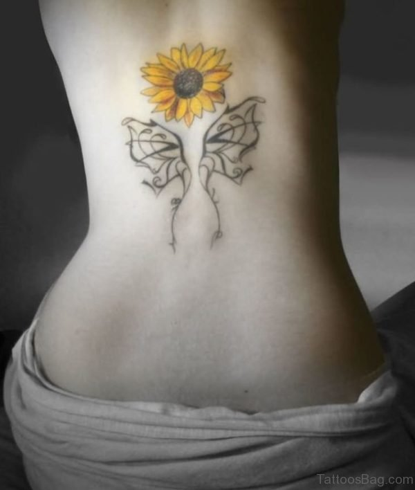 Butterfly Wings and Sunflower Tattoo