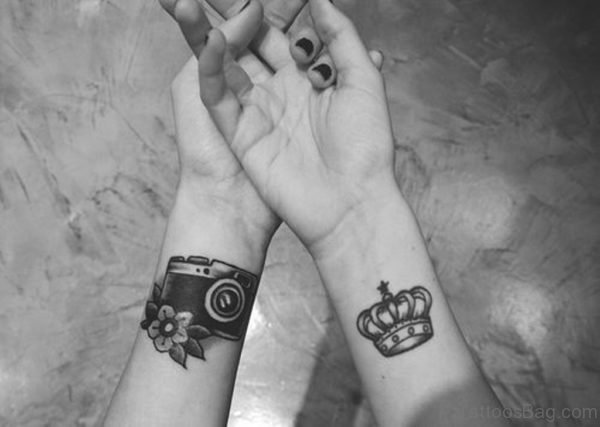 Camera And Crown Tattoo