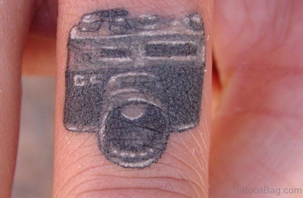 Camera Tattoo On Finger