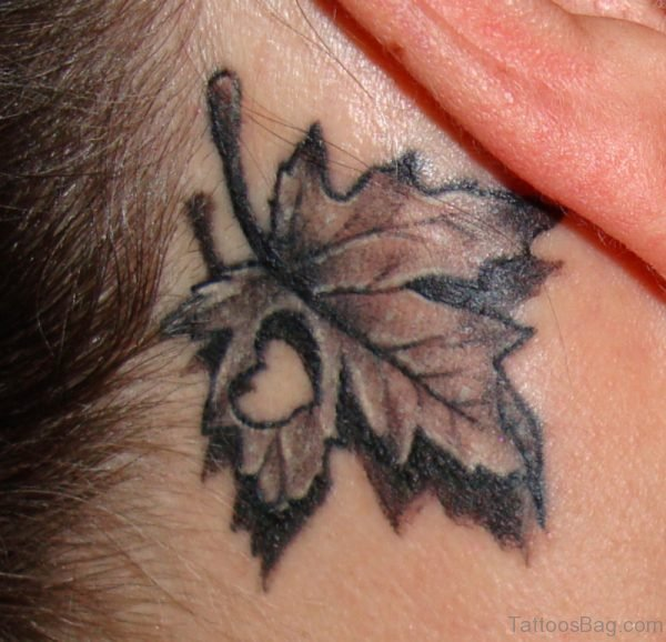 Canadian Maple Leaf Tattoo On Neck