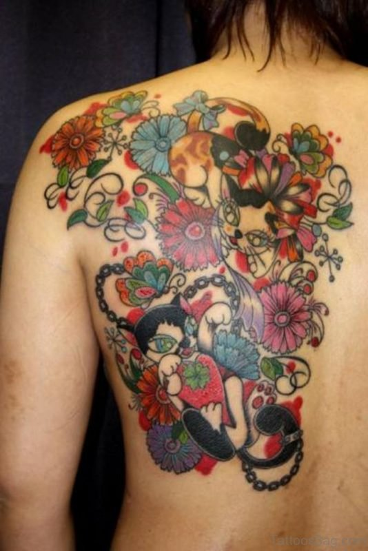 Cat And Flower Tattoo