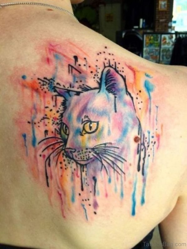 Cat Face Tattoo On Back