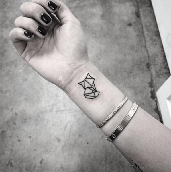 Cat Geometric Tattoo On Wrist