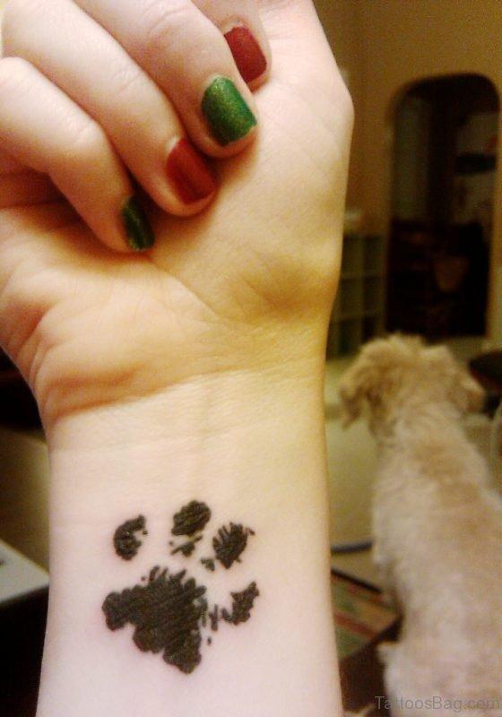 Cat Paw Tattoo On Wrist
