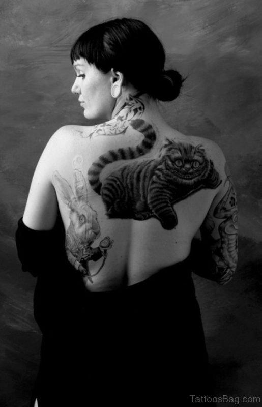 Cat Tattoo On Back